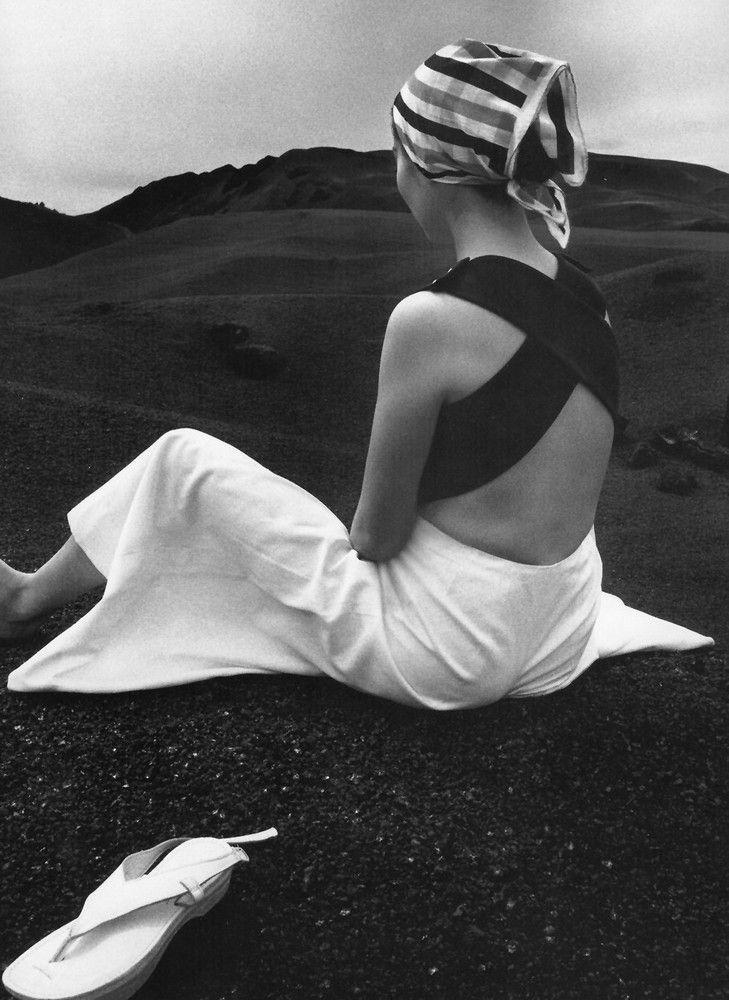 akiko on black lava of hawaii hiro 1965.jpg