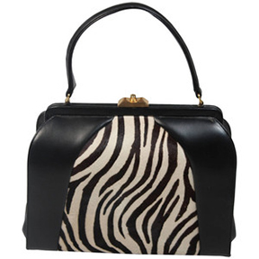 Saks Fifth Ave, Leather and Zebra Print Frame Bag