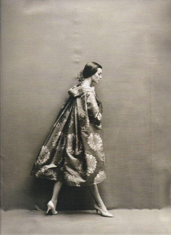 Carmen Dell'Orefice in Pierre Cardin Evening Coat, Richard Avedon, Harpers Bazaar October 1957
