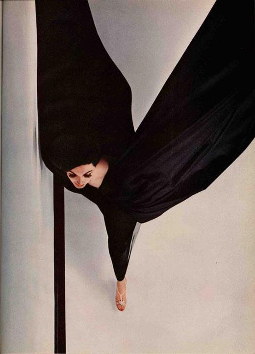 Black Evening Dress in Flight, New York, Hiro, Harpers Bazaar October 1963