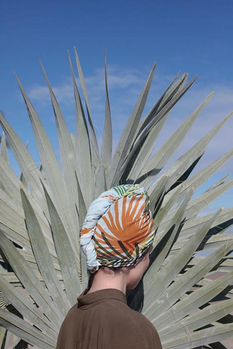 Andrea Pimentel in Palmito Silk Scarf by SuTurno, Lourdes Cabrera