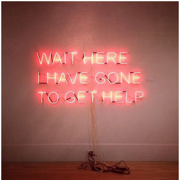 Tim Etchells, Wait Here Neon Sign, 2008