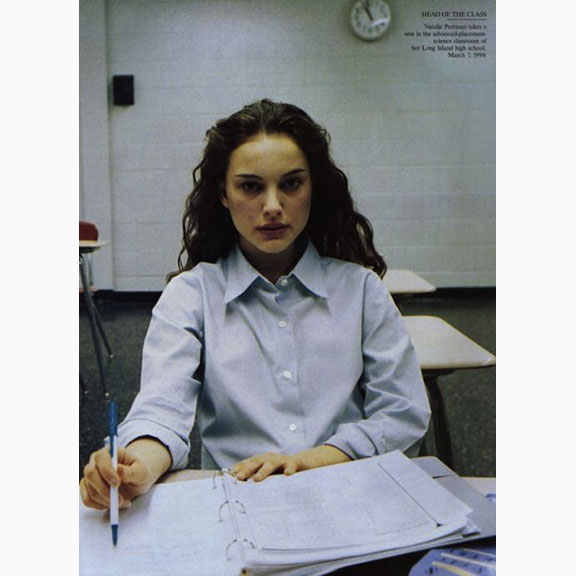 Annie Leibovitz, Natalie Portman Photographed in her High School Class Room, Vanity Fair, May 1999