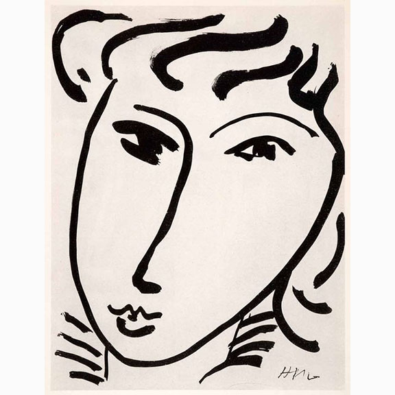 Black and White Photolithography of Henri Matisse, Girls Head ii, 1950 taken 1969
