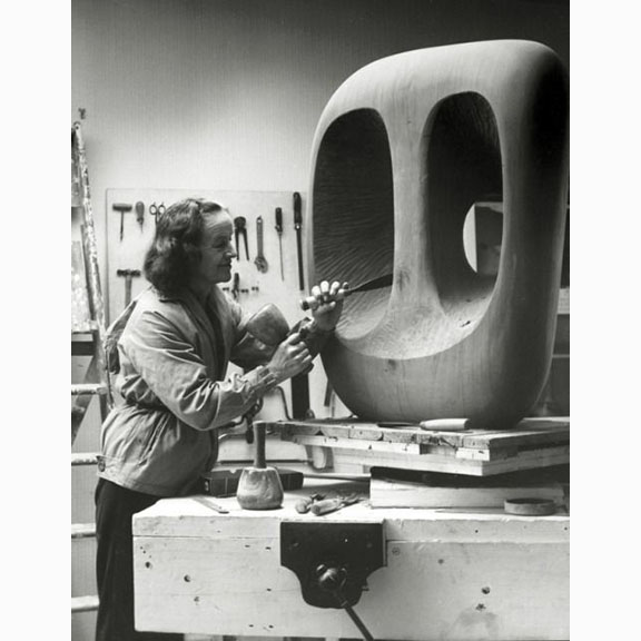 Barbara Hepworth in Palais Studio 1963 with Unfinished wood carving Hallow Form with White Interior Photograph by Val Wilmer