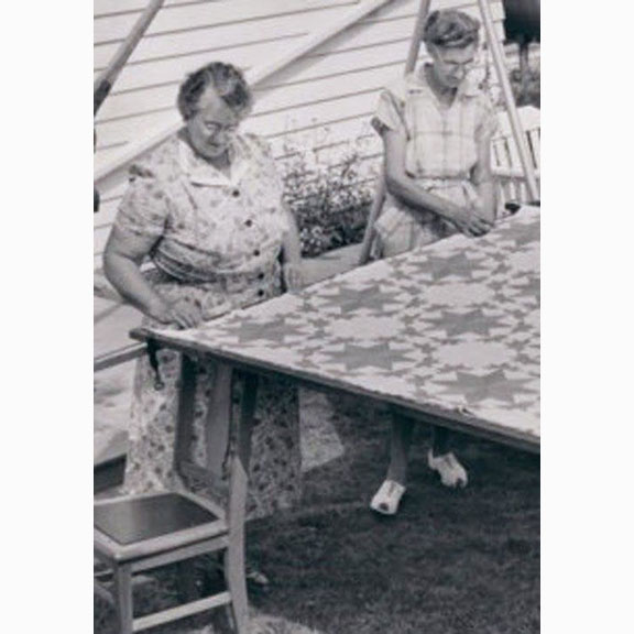 Women quilting Saginaw Michigan around 1950