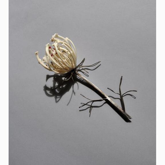 Jennifer Trask, Queen Anne's Lace Brooch, Bone ,Silver Sewing Needles, Rubies, Resin ,2010