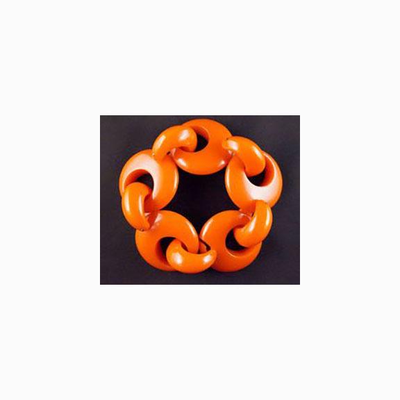 "Bakelite, Orange Chunky 8 1/2"" Oval Link Bracelet"