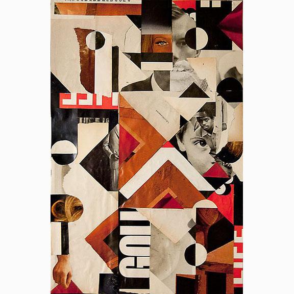 John Whitlock, Smocking Man, Collage on Paper, 2011