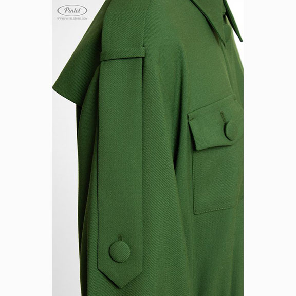 Pintel, Military Style Wool Boxy Dress Detail, 2018