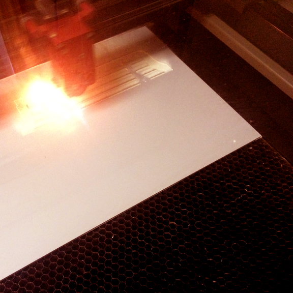 Lasercutting the stamp
