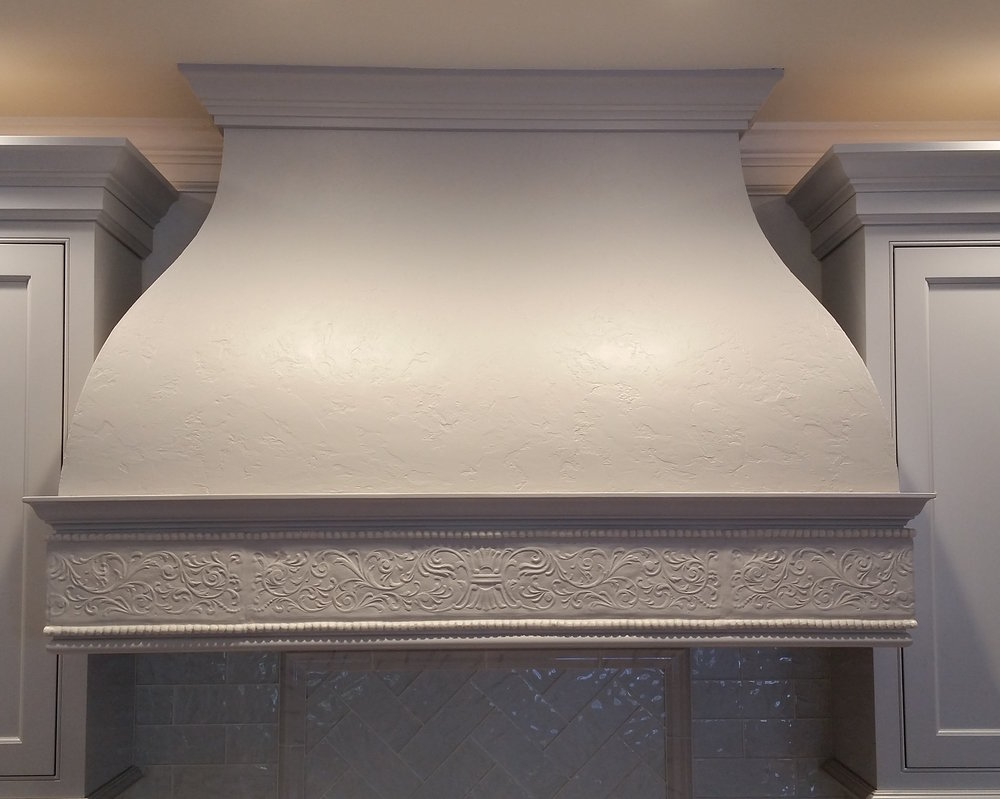 Venetian Plaster Hood with Custom Frieze