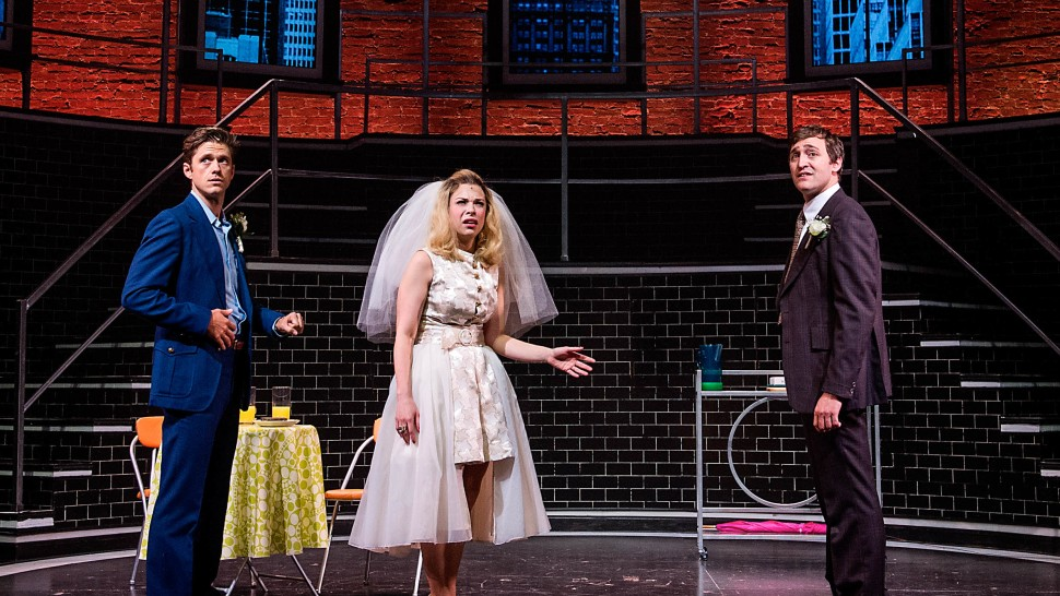 Aaron Tveit, Lauren Marcus, and Joseph Spieldenner in COMPANY at Barrington Stage Co. - Photo by Daniel Rader