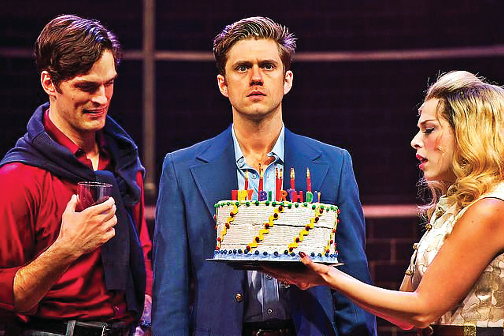 Paul Schaefer, Aaron Tveit, and Lauren Marcus in COMPANY at Barrington Stage Co. - Photo by Daniel Rader