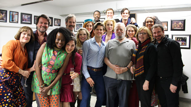 Cast of COMPANY meeting Stephen Sondheim