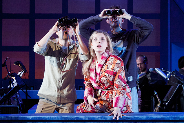 Jason Tam, Lauren Marcus, and A.J. Shively in MERRILY WE ROLL ALONG - Photo by Randy O'Rourke