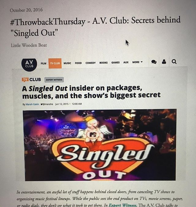 #ThrowbackThursday article posted to the website!! Check out secrets behind the cult classic #MTV show, 'Singled Out!' Www.littlewoodenboat.com #MTV #SingledOut #BTS #MarkCronin #LWB #Reality #TV @mindlesstv @mtv