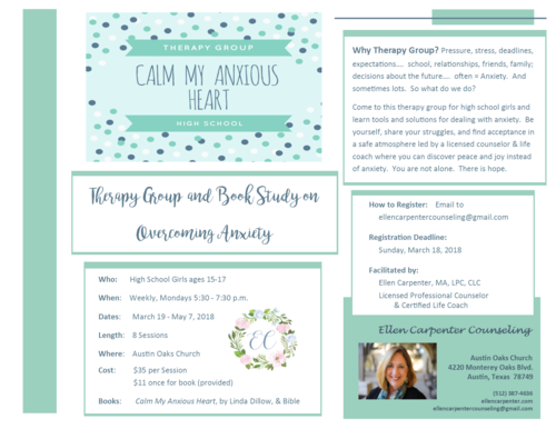 Therapy groups ellen carpenter counseling flyer cmah high school spring 2018g solutioingenieria Images