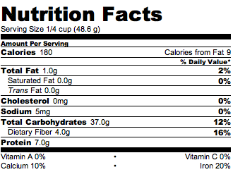 ... calcium (123 mg), magnesium (126mg), manganese, as well as phosphorus, potassium. Check out the nutrition profile for 1 cup cooked (1/4 cup dry):