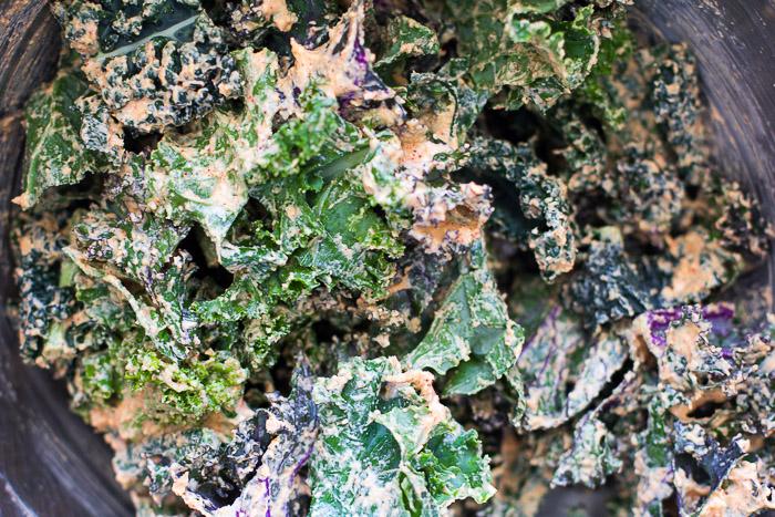 Zesty Nacho Kale Chips | www.ediblesoundbites.com