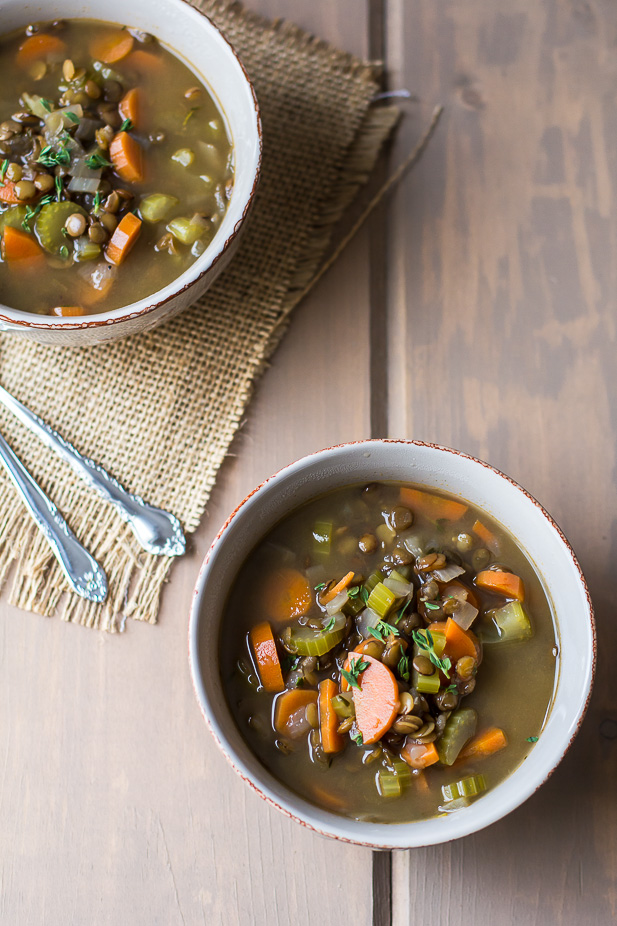 French Green Lentil and Vegetable Soup | ediblesoundbites.com