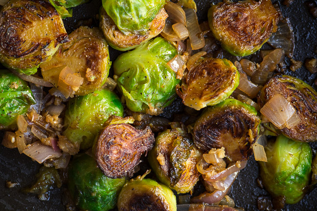 Wine and Shallot Brussels Sprouts | ediblesoundbites.com