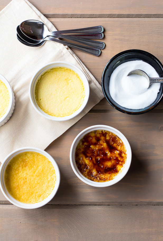 Creme Brulee with Caramelized Peaches | ediblesoundbites.com
