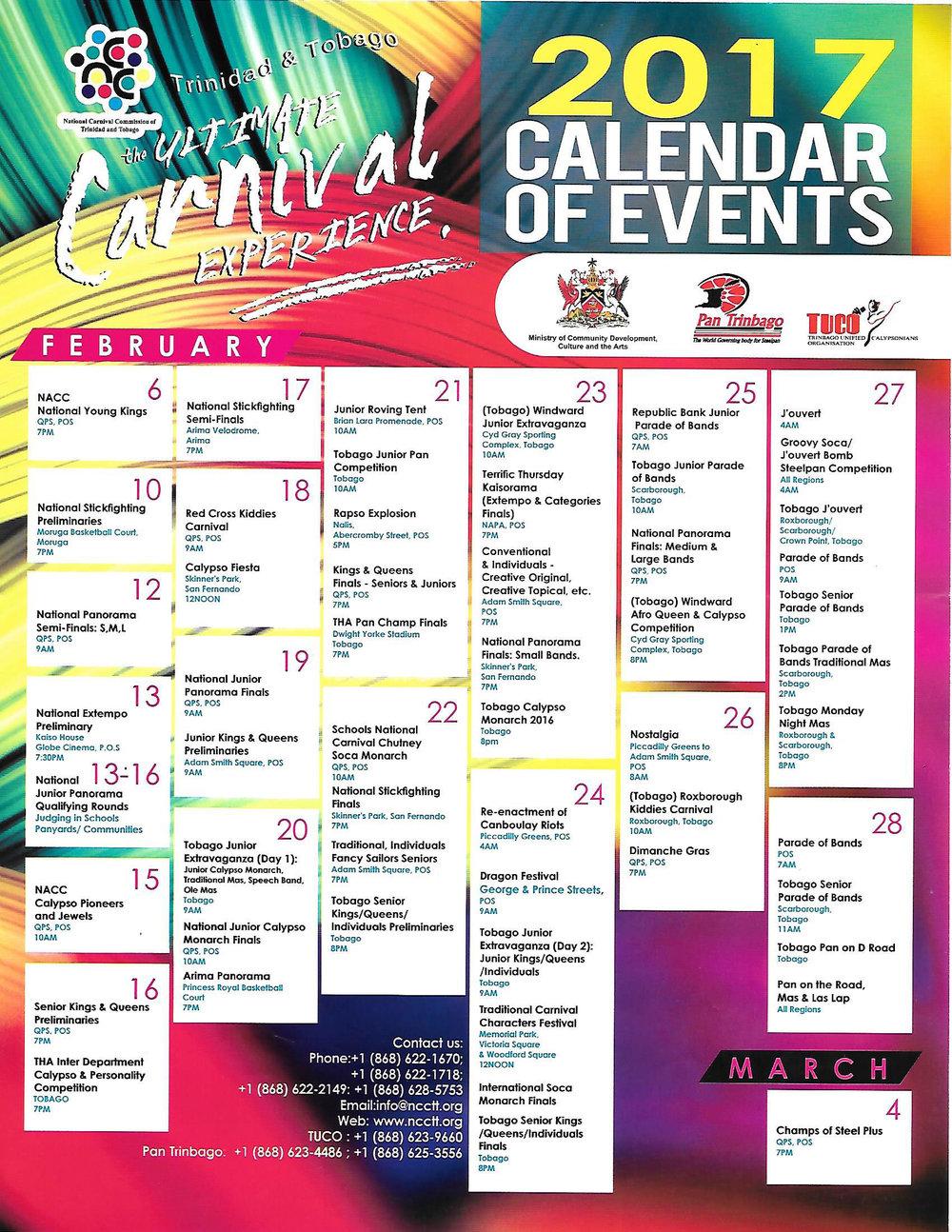 National Carnival Commission Calendar 2017 Caribbean Affairs Inc