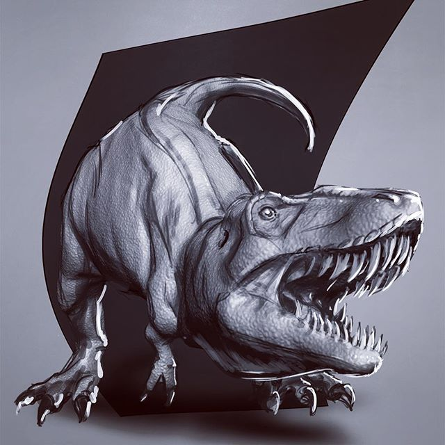Sorry for not posting much recently. My lovely wife just gave birth to our new family member. Sooooo I started a new 2D 3D design for print. I wanted to create a dinosaur to make a dinosaur tshirt design for my son and newborn daughter. The  current Dino shirts I have seen are just too baby-fied.  I'm also making this design available for purchase with portion of the proceeds going to charity.  #outlawhue #zbrush #3d #zbrushsculpt #sketch #wip #creaturedesign #digitaldraw #adobephotoshop #wacom #printdesign #dinosaur #dinosaurart #tarbosaurus #tshirtdesign #artforkids #artforcharity