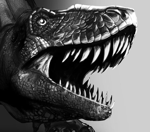 I have the style and texture where I want it ( for now). I plan to finish the grayscale painting soon. Happy Friday! #digitalsketching #digitalpainting #drawing #dinosaur #dinosaurdrawing #dinosaurart #prehistoric #speedpainting #photoshop #3d #2d #artforsale #independentartist #tshirtdesign #printdesign #illustration #teepublic #society6art #outlawhue #wip #wacom #freelanceartist #fridaymadness