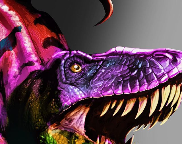Had a another shot of time to work on some art. I decided to keep at the dinosaur project. Getting into color testing and refining.  #digitalsketching #digitalpainting #drawing #dinosaur #dinosaurdrawing #dinosaurart #prehistoric #speedpainting #photoshop #3d #2d #artforsale #independentartist #tshirtdesign #printdesign #illustration #teepublic #society6art #outlawhue #wip #wacom #illustrator #fridayvibes