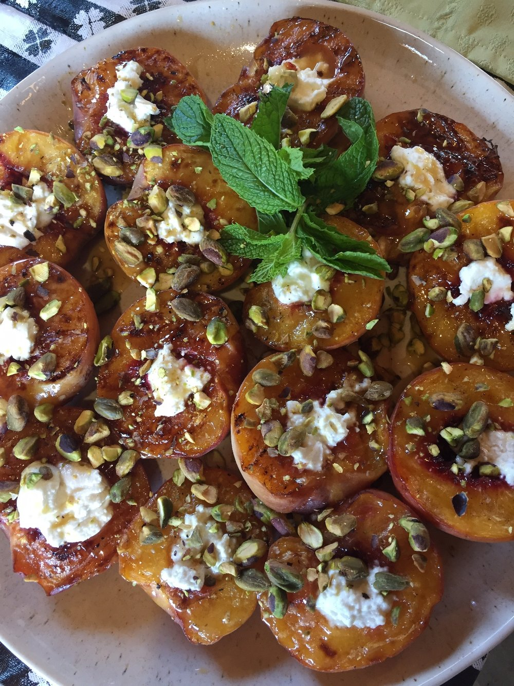 Grilled Peaches with Honey, Chèvre and Pistachios