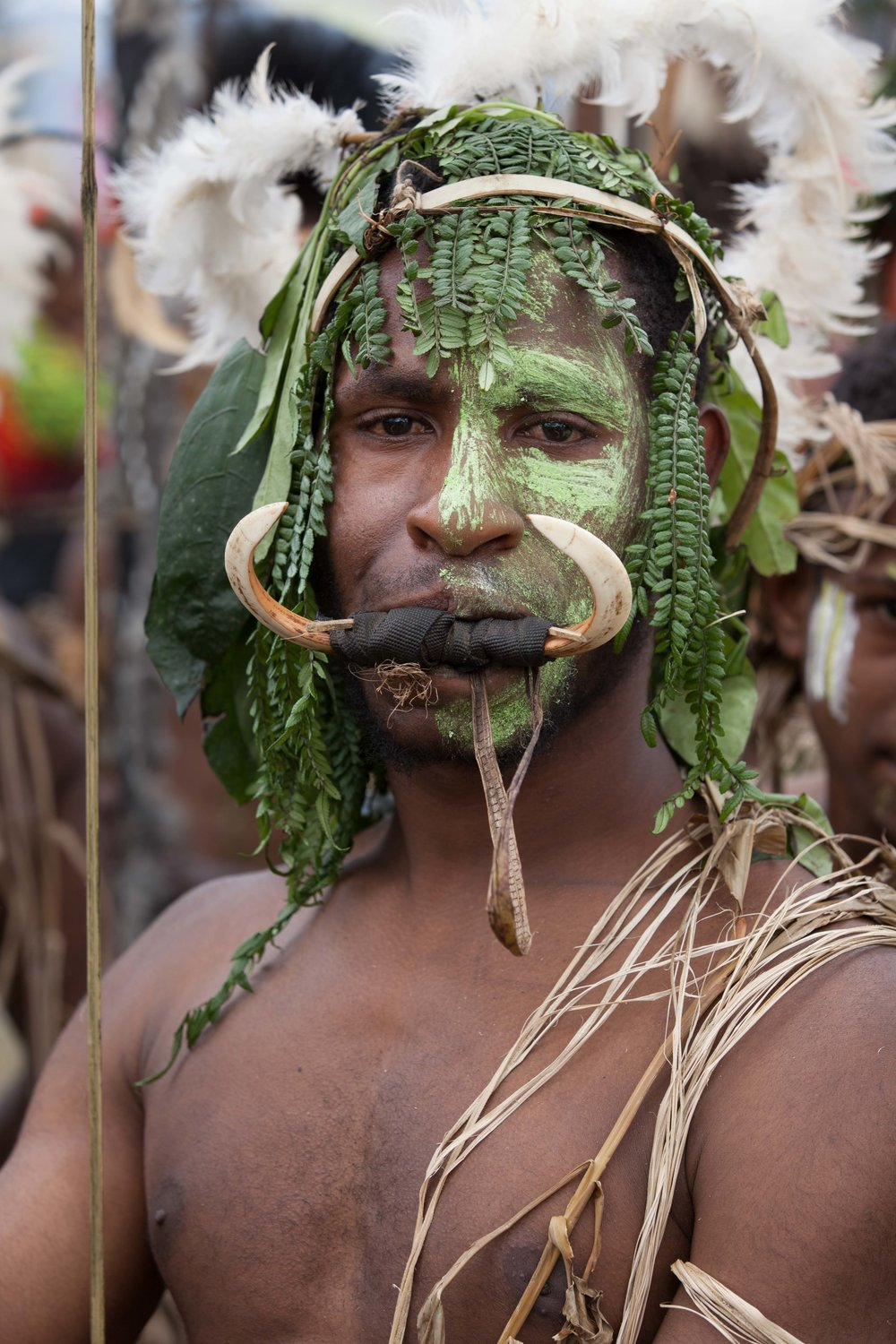 Boar's tusks complete the look. Goroka