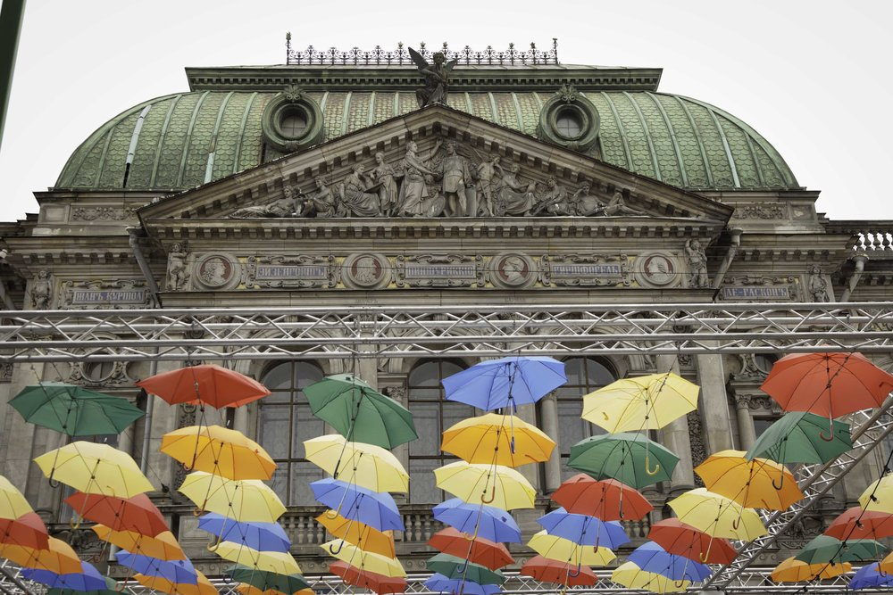 The Umbrella Festival outside of the Museum of Applied Arts