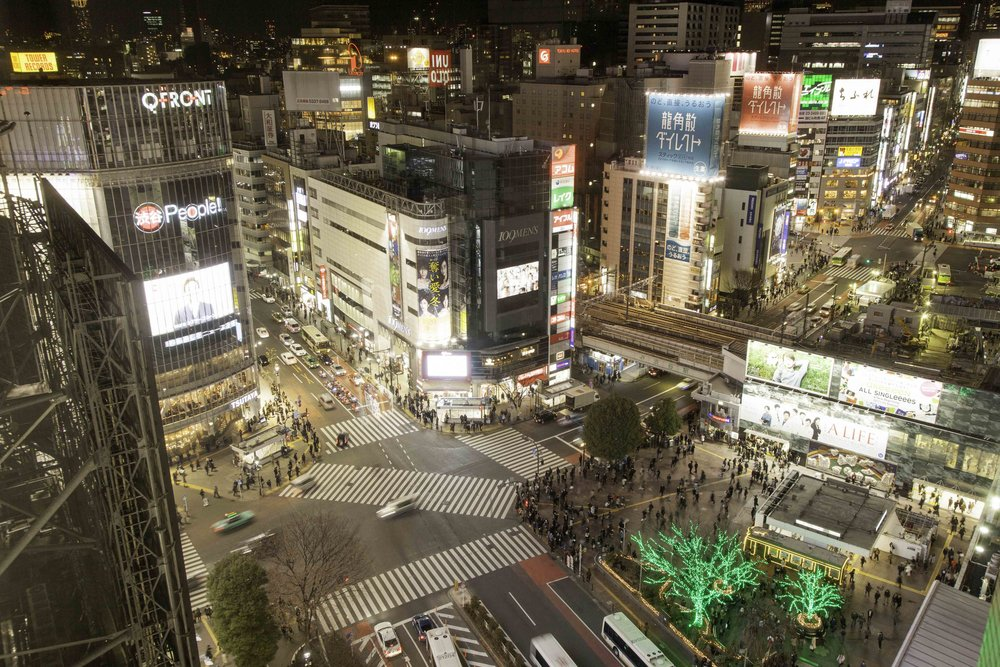 """""""Scramble"""" crossing at night, Shibuya, Tokyo"""