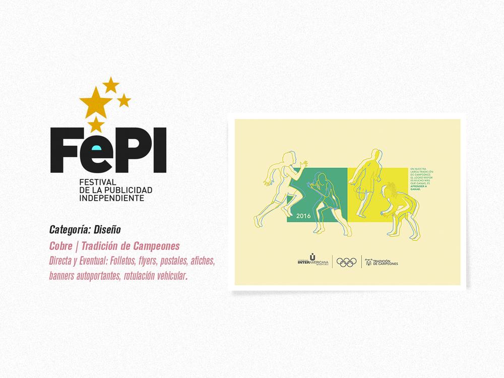 Cliente: Universidad Interamericana, Categoría de Diseño, Cobre, Pieza Tradición de Campeones (Afiches creados como parte de la celebración de las Olimpiadas)