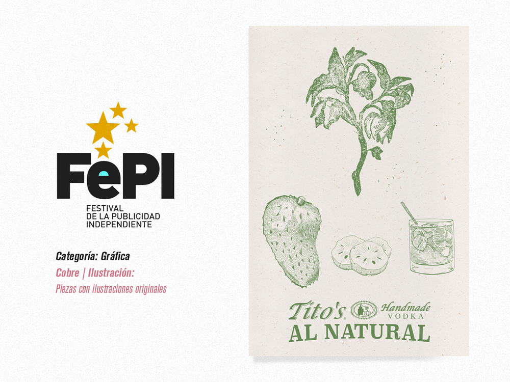 """Cliente: Tito's Vodka, Categoría Ilustración Piezas con Ilustraciones Originales, Cobre, Pieza """"Tito's Al Natural""""."""