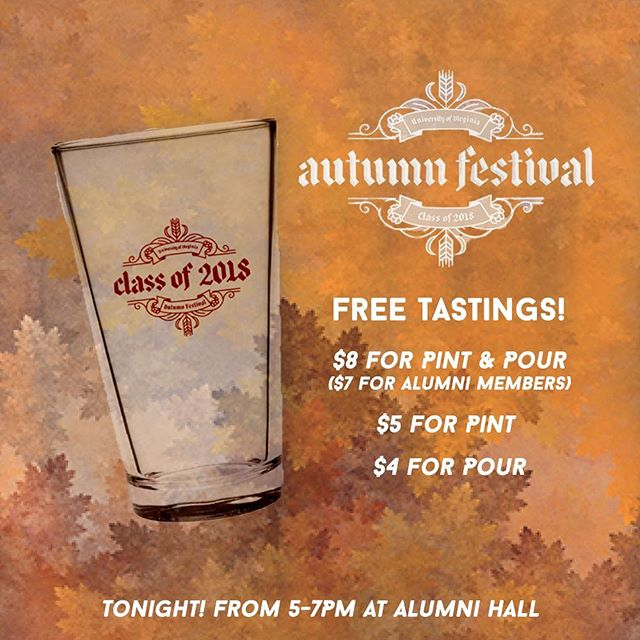 See you all tonight at our Autumn Festival at Alumni Hall! Stop by for tastings, snacks, pumpkin decorating, and more! 🍁🍂🎃