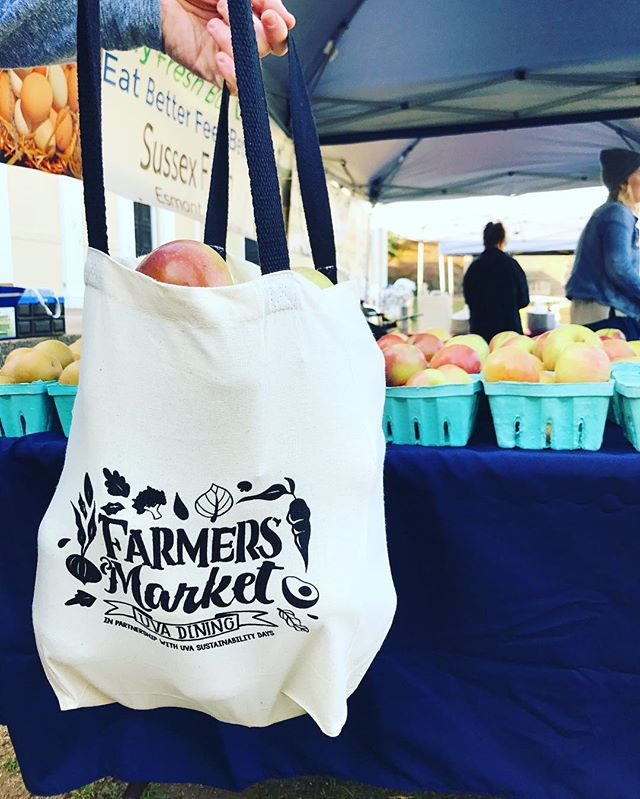 HAPPY AMERICA RECYCLES DAY 🌎celebrate with the UVA Dining & Sustainability Farmers Market from 12-4pm in the amphitheater today! Come grab a free tote and fill it with fresh produce, kombucha, donuts & more! // rumor has it there will be avocado sashimi 🥑