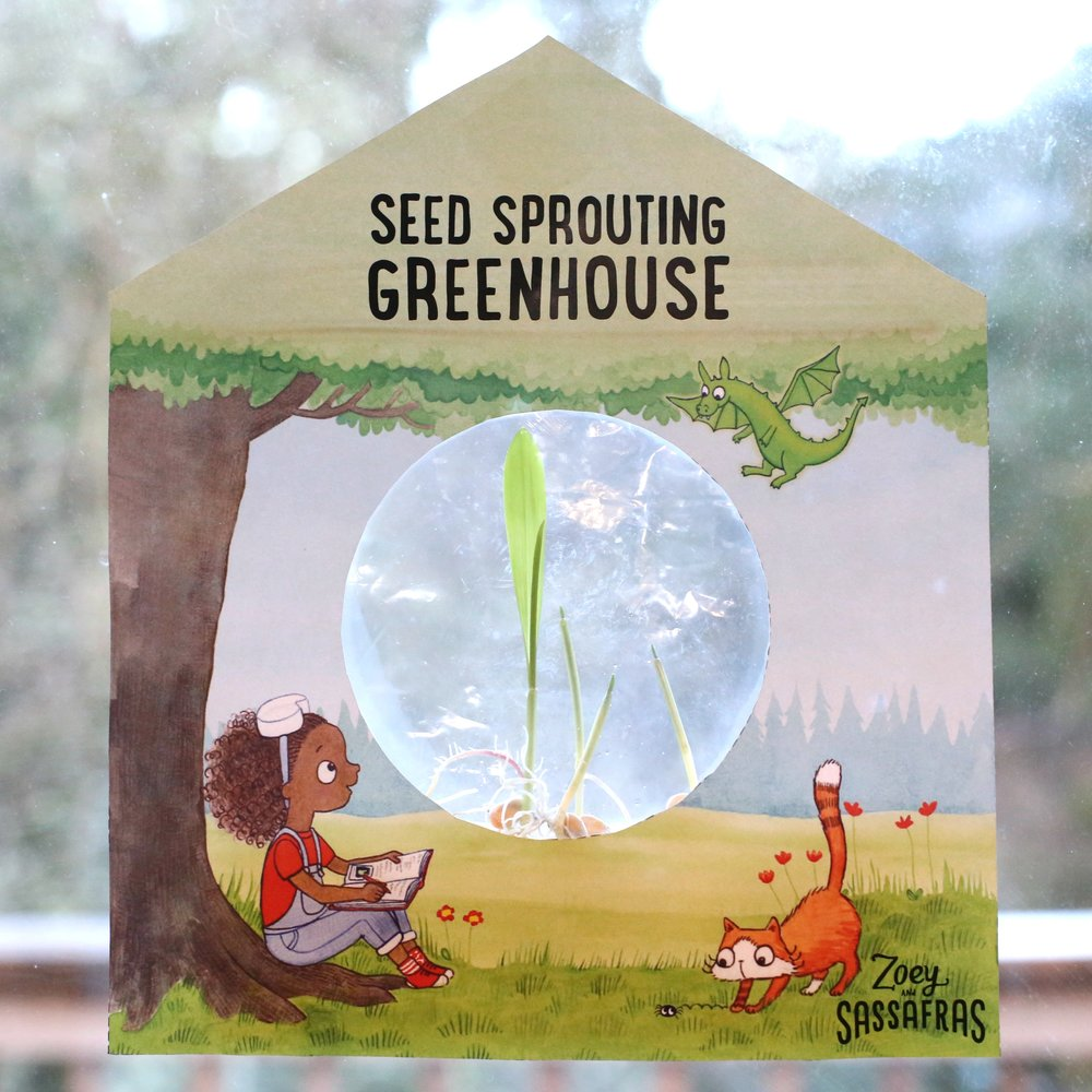 The  Zoey and Sassafras  Event Kit contains instructions for creating a seed greenhouse, full color printed templates, paper towels, pinto beans or corn seeds, and Zoey and Sassafras character temporary tattoos.   You will need to provide scissors (or have a team member pre-cut out the templates), water, and tape.