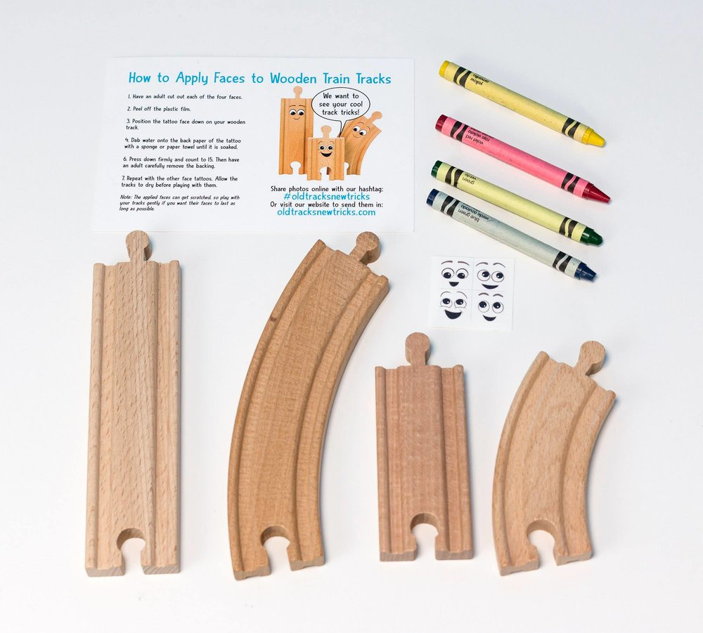 The Old Tracks, New Tricks Event Kit contains materials to decorate and create your own track character.  The kit includes directions, wooden tracks, crayons, and adhesive faces.  You will need to provide water.