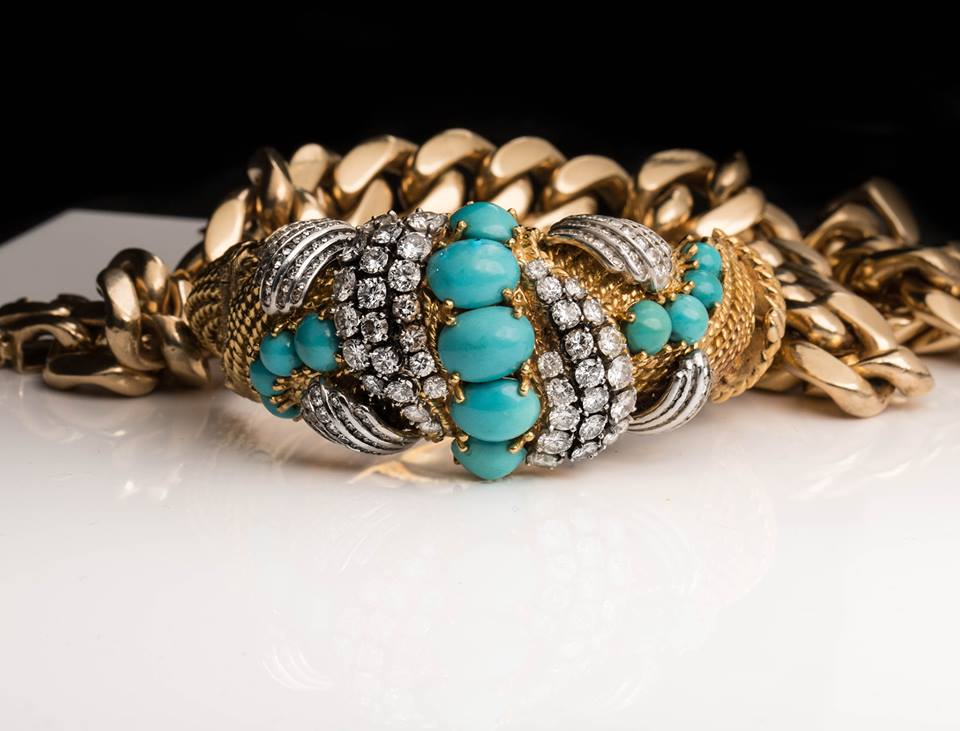 Antique Heirloom, Circa 1914 ft. Diamonds & Turquoise Cabachons (purchased during a recent family Estate)