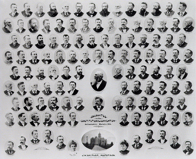 [Delegates to the Constitutional Convention, 1895. The two women were convention clerks