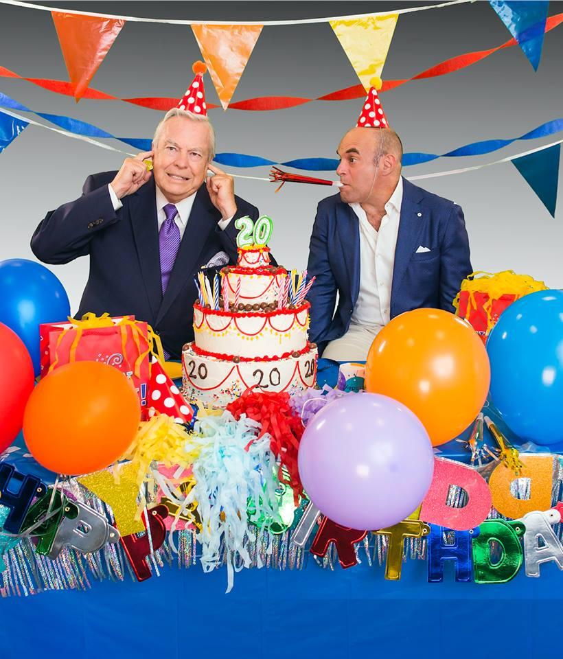 Host of the show, and House Board Member, Peter Sagal and show announcer Bill Kurtis celebrate Wait Wait Don't Tell Me!'s 20th birthday, this year!