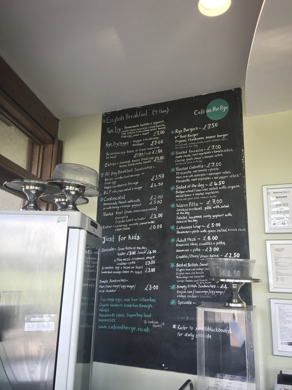 A menu full of locally sourced food