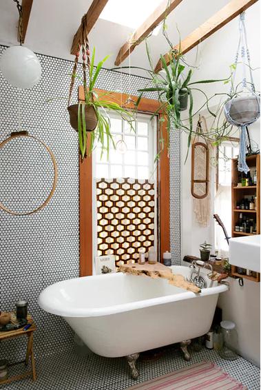 Macrame plant hangers look great in the bathroom. Image;https://www.theguardian.com
