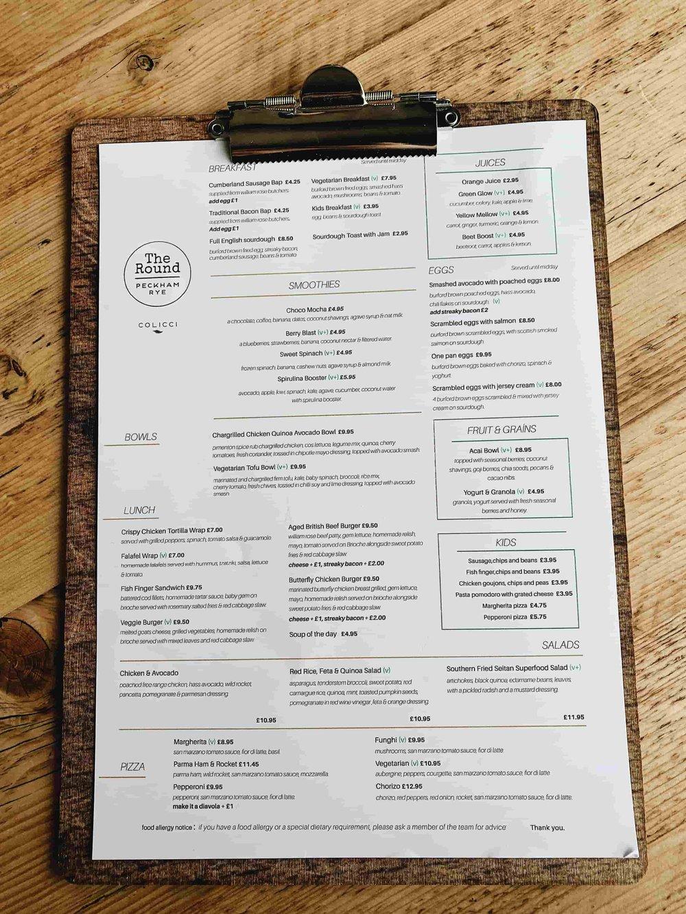 Peckham Rye Cafe menu