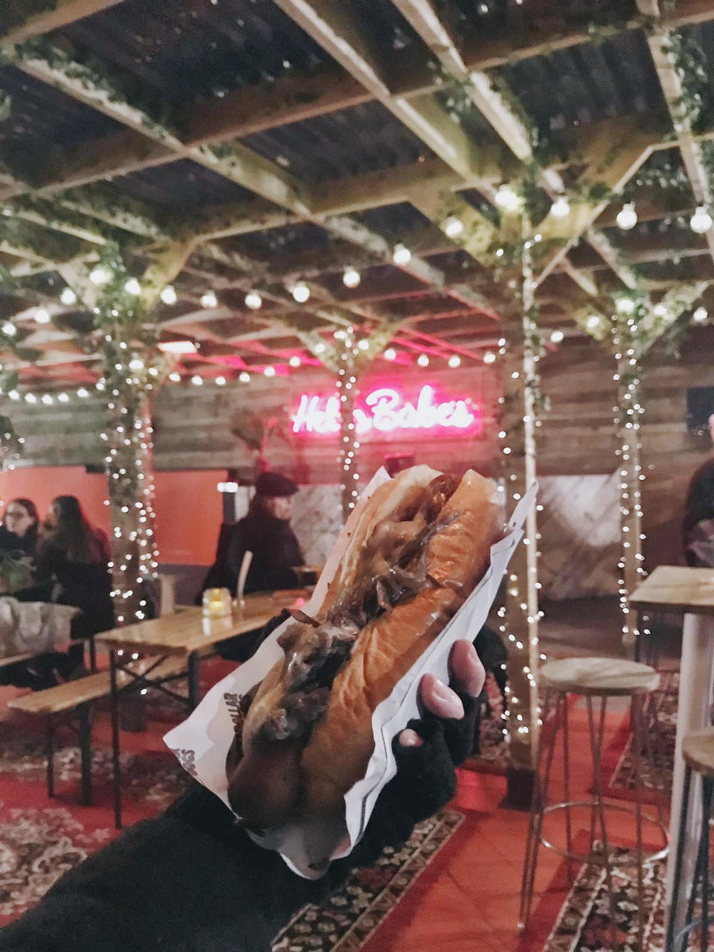 Vegan hotdog at Bussey rooftop bar