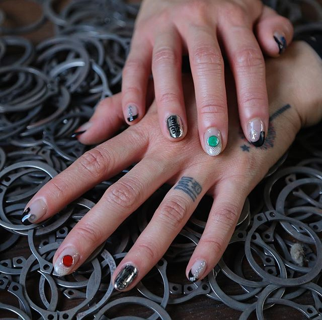 Blown away by the amazing work of @astrowifey creating #iaplus themed #nailart with @themotorcyclegang. #creativegeniuses #industrialjewelry #tinypiecesofhistory #chicagoartists #astrowifey #collaboration