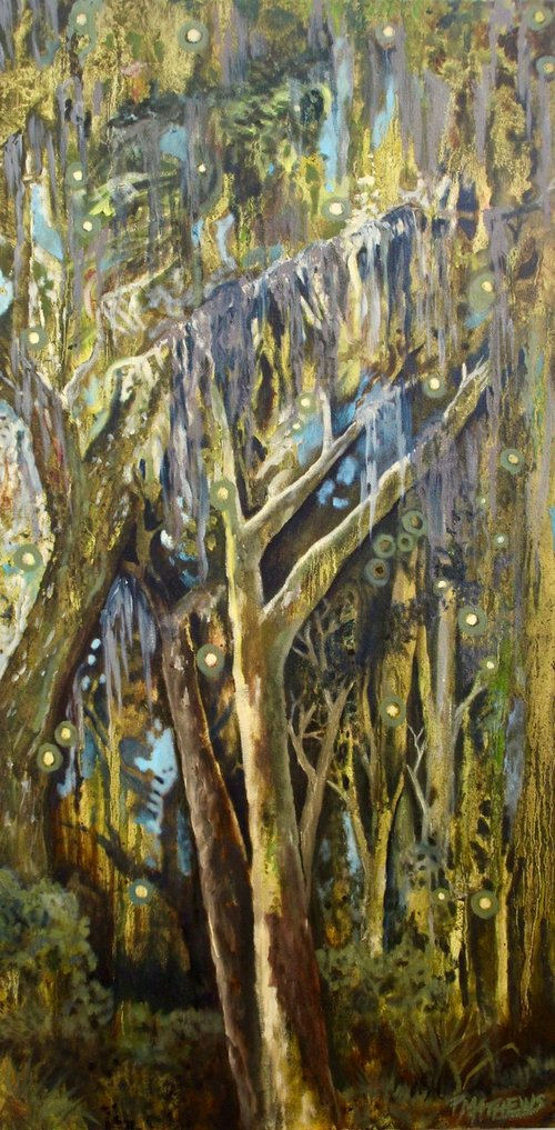 "Mossy Mystical Maritime (Oil, unframed - $600 - 18"" x 36"")"